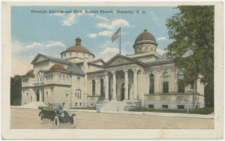 Carnegie Library and First Baptist Church, Charlotte, Meckklenburg County