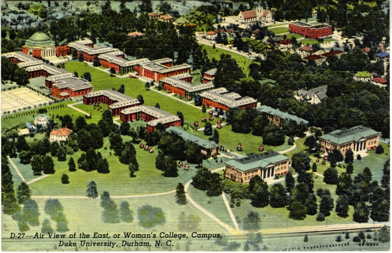 Air View of the East, or Women's College, Campus, Duke