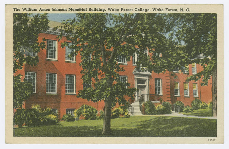 William Amos Johnson Memorial Building, Wake Forest College, Wake Forest, Wake County