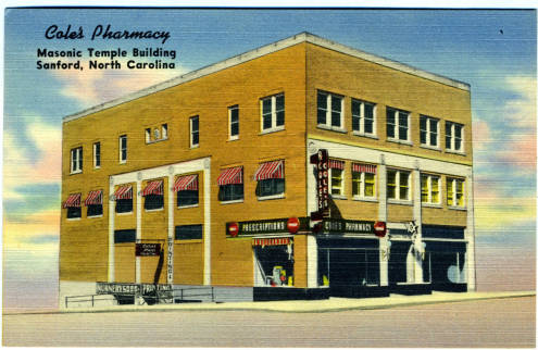 Cole's Pharmacy, Masonic Temple Building, Sanford, North Carolina