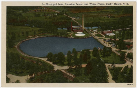 Municipal Lake, Showing Power and Water Plants, Rocky Mount, N.C.